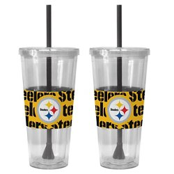Boelter Brands Pittsburgh Steelers Bold Neo Sleeve 22 oz. Straw Tumblers 2-Pack