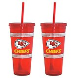 Boelter Brands Kansas City Chiefs 22 oz. Bling Straw Tumblers 2-Pack