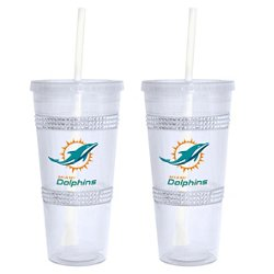 Boelter Brands Miami Dolphins 22 oz. Bling Straw Tumblers 2-Pack