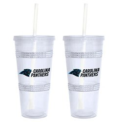 Boelter Brands Carolina Panthers 22 oz. Bling Straw Tumblers 2-Pack