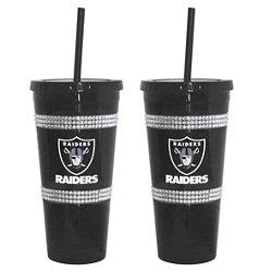 Boelter Brands Oakland Raiders 22 oz. Bling Straw Tumblers 2-Pack