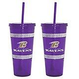 Baltimore Ravens 22 Oz Bling Straw Tumblers 2 Pack