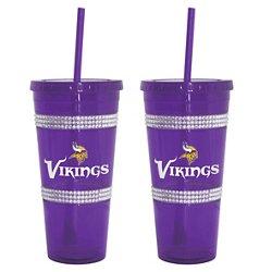 Boelter Brands Minnesota Vikings 22 oz. Bling Straw Tumblers 2-Pack