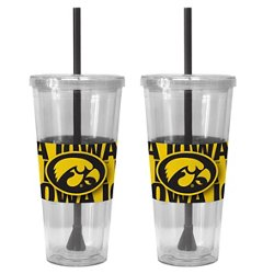 Boelter Brands University of Iowa Bold Neo Sleeve 22 oz. Straw Tumblers 2-Pack