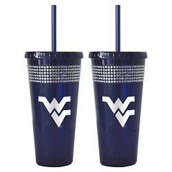 Boelter Brands West Virginia University 22 oz. Bling Straw Tumblers 2-Pack