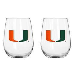 Boelter Brands University of Miami 16 oz. Curved Beverage Glasses 2-Pack