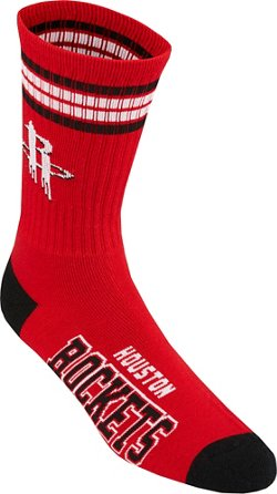 For Bare Feet Adults' Houston Rockets 4-Stripe Deuce Socks