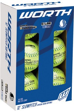 Worth Super Gold Dot Classic 12 in Slow-Pitch Softballs 6-Pack
