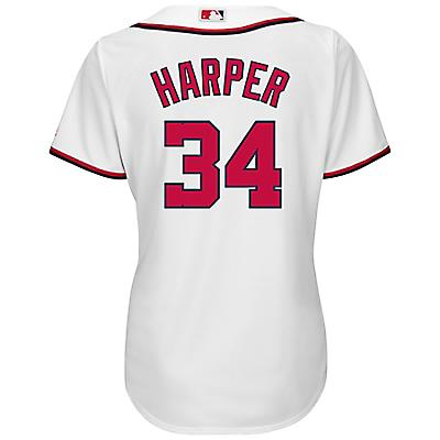 new styles 699b0 8c064 Majestic Women's Washington Nationals Bryce Harper #34 Cool Base Replica  Home Jersey