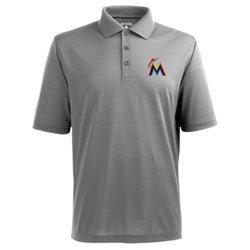 Antigua Men's Miami Marlins Piqué Xtra-Lite Polo Shirt