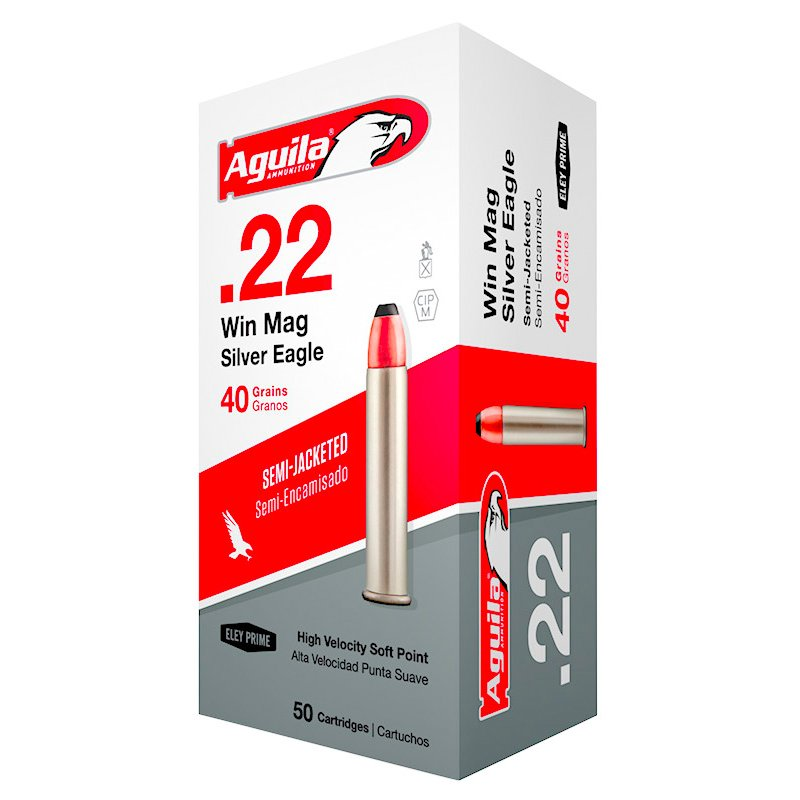 Aguila Ammunition .22 Winchester Magnum Rimfire 40-Grain Jacketed Soft-Point Rimfire Ammunition, 45 - Rimfire Shells at Academy Sports thumbnail
