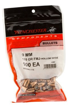 Winchester 9mm 115-Grain Full Metal Jacket Hollow Base Centerfire Handgun Bullets
