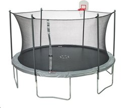 JumpZone 15 ft Trampoline with DunkZone Basketball Hoop & Spinner Flash LiteZone