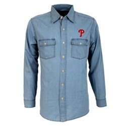 Antigua Men's Philadelphia Phillies Long Sleeve Button Down Chambray Shirt