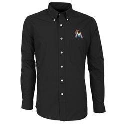 Antigua Men's Miami Marlins Dynasty Long Sleeve Button Down Shirt
