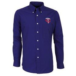 Antigua Men's Minnesota Twins Dynasty Long Sleeve Button Down Shirt