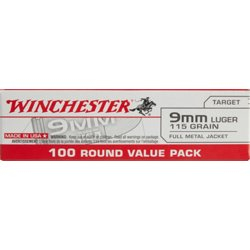 USA Full Metal Jacket 9mm 100-round 115-Grain Handgun Ammunition