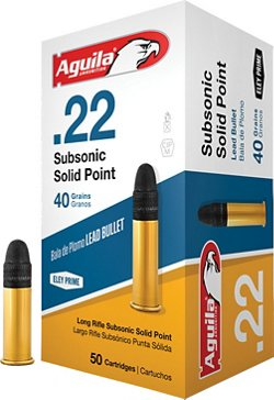 Aguila Ammunition Subsonic Solid-Point .22 40-Grain Rimfire Ammunition