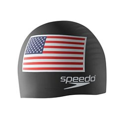 Adults' USA Flag Silicone Swim Cap