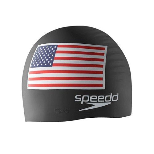 Speedo Adults' USA Flag Silicone Swim Cap