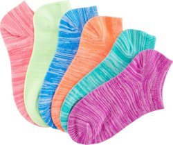 BCG Girls' No-Show Socks 6 Pack
