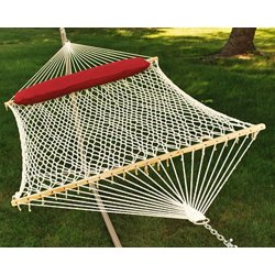 2-Point Double Size Cotton Rope Hammock with Oversize Pillow
