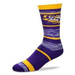 For Bare Feet Men's Louisiana State University Stripe Crew Socks