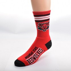 For Bare Feet Men's Arkansas State University 4-Stripe Deuce Crew Socks