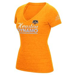 adidas Women's Houston Dynamo Slant Line Repeat V-neck T-shirt