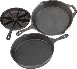 Outdoor Gourmet 3-Piece Cast-Iron Skillet Set