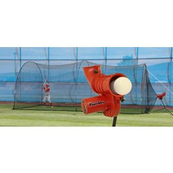 Power Alley 11 in Softball Pitching Machine and Power Alley 22 ft Cage