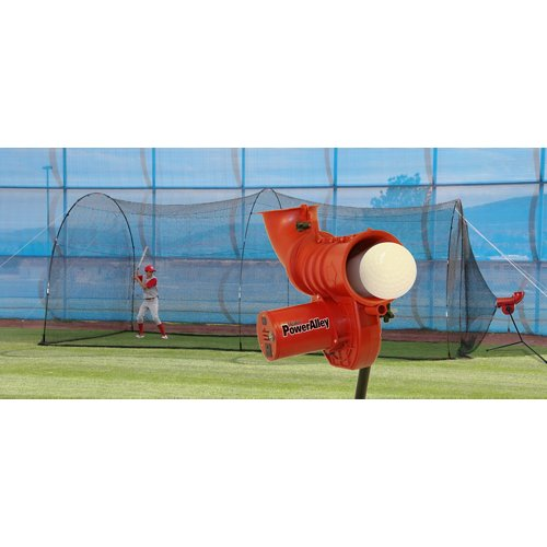 Heater Sports Power Alley 11 in Softball Pitching Machine and Power Alley 22 ft Cage