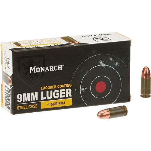 Monarch® FMJ 9 mm Luger 115-Grain Pistol Ammunition