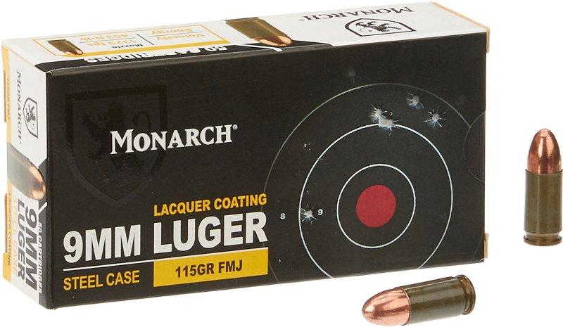 Monarch FMJ 9 mm Luger 115-Grain Pistol Ammunition 000 – Pistol Shells at Academy Sports