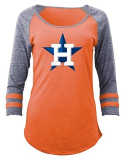 Women's Houston Astros 3/4 Sleeve Scoop Neck T-shirt