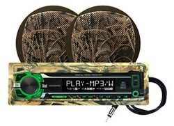 "Realtree 240W Marine Mechless Receiver with Two 6.5"" Dual Cone Speakers"