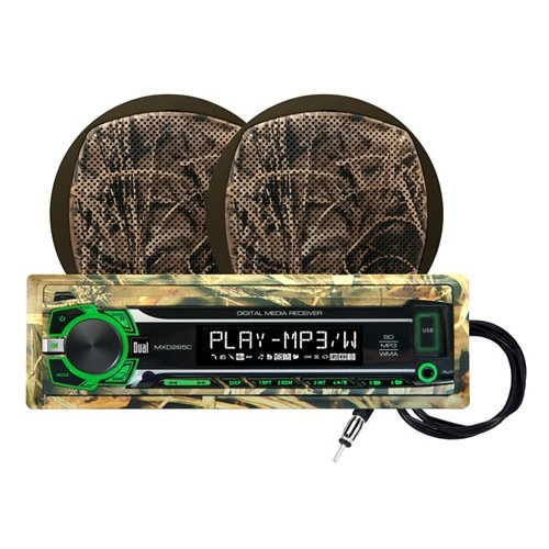 Dual Realtree 240W Marine Mechless Receiver with Two 6.5' Dual Cone Speakers
