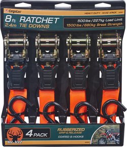CargoLoc 8' Hi-Viz Ratchet Tie-Downs 4-Pack
