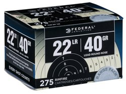 Federal Premium Range and Field .22 LR 40-Grain Rimfire Rifle Ammunition