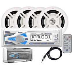 Dual 200W Digital Media Marine Receiver with Four 6-1/2 in Speakers