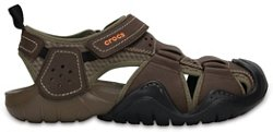 Crocs Men's Swiftwater Leather Fisherman Sandals