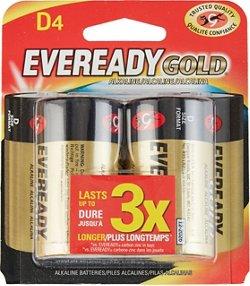 Eveready Gold D Alkaline Batteries 4-Pack