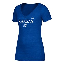adidas Women's University of Kansas Wordmark Triblend V-neck T-shirt