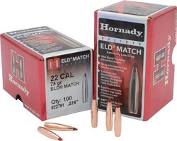 Hornady ELD Match 22 .224 75-Grain Rifle Bullets