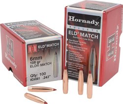 Hornady ELD Match 6mm .243 108-Grain Rifle Bullets