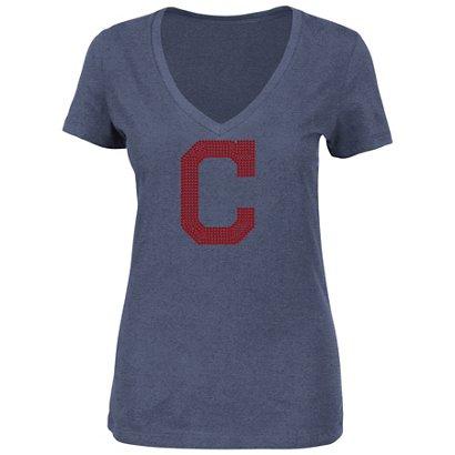 Majestic Women s Cleveland Indians Dream of Diamonds V-neck T-shirt ... 7b071e86c8