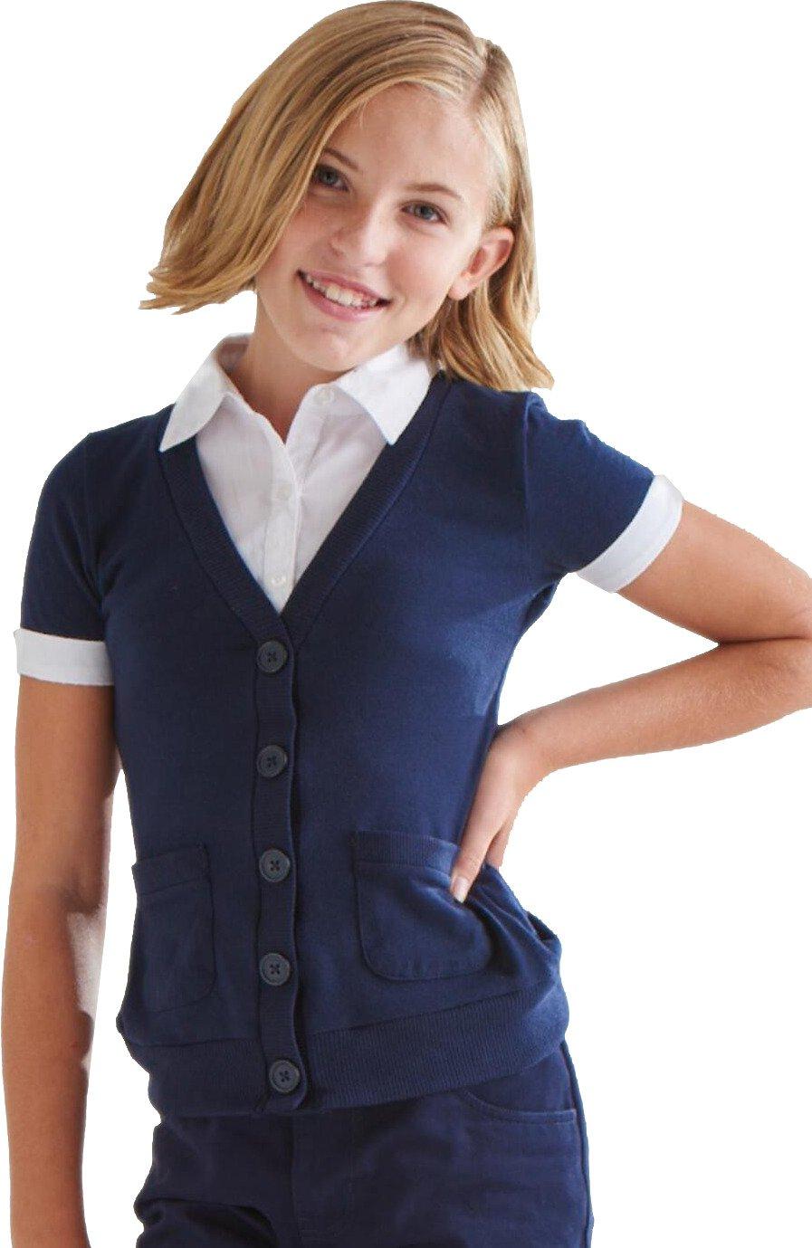 French Toast Girls Cardigan Blouse 2 Fer School Uniform Polo Shirt