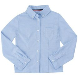 Girls' Long Sleeve Oxford Blouse with Darts