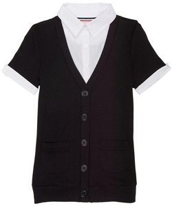 French Toast Girls' Short Sleeve Cardigan Blouse 2-fer Top