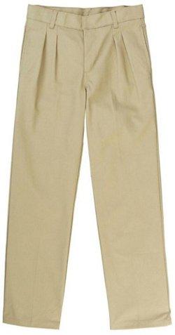 French Toast Boys' Adjustable Waist Pleated Double Knee Pant